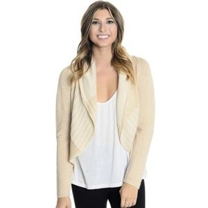 Cabi #483 Patchwork Wool Blend Beige Cardigan XL